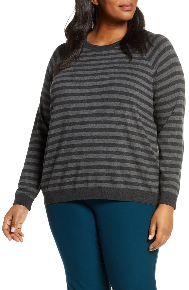 EILEEN FISHER Stripe Crewneck Top, Main, color, CHARCOAL/ ASH