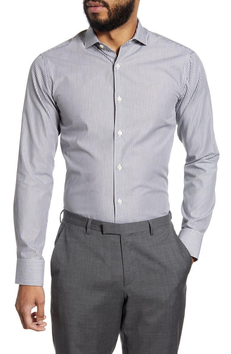 TIGER OF SWEDEN Slim Fit Stripe Dress Shirt, Main, color, BLACK