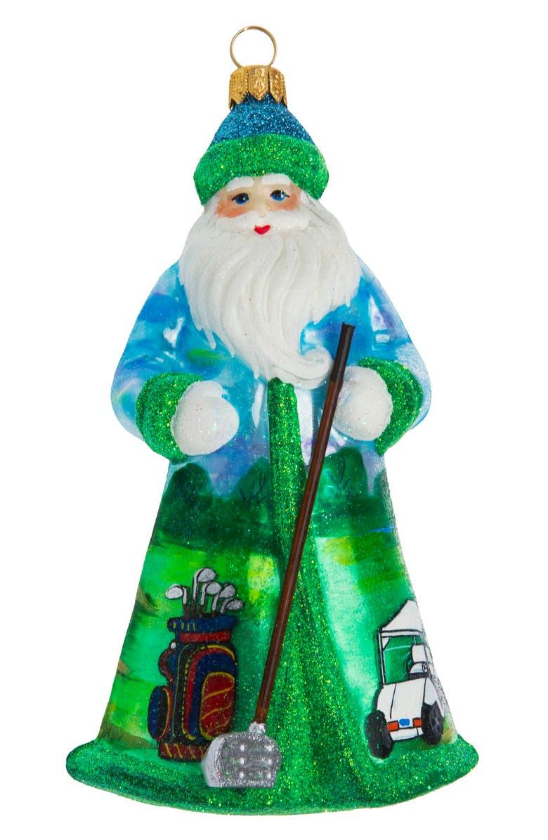 JOY TO THE WORLD COLLECTIBLES Glitterazzi Golfing Santa Ornament, Main, color, GREEN