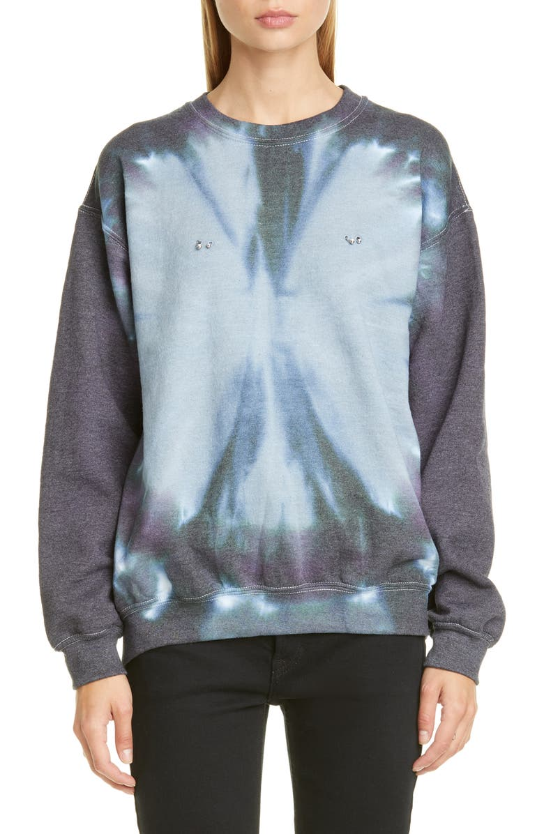 COLLINA STRADA Pierced Tie Dye Crewneck Sweatshirt, Main, color, BLACK BULLSEYE TIE DYE