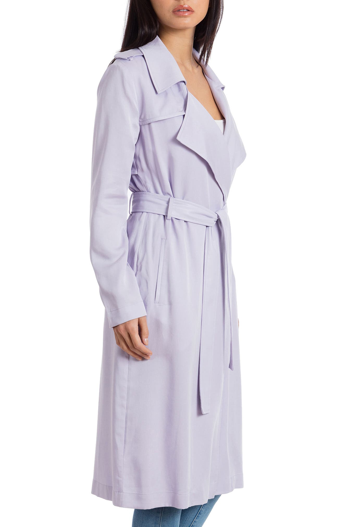 ,                             Badgley Mischka Faux Leather Trim Long Trench Coat,                             Alternate thumbnail 32, color,                             530