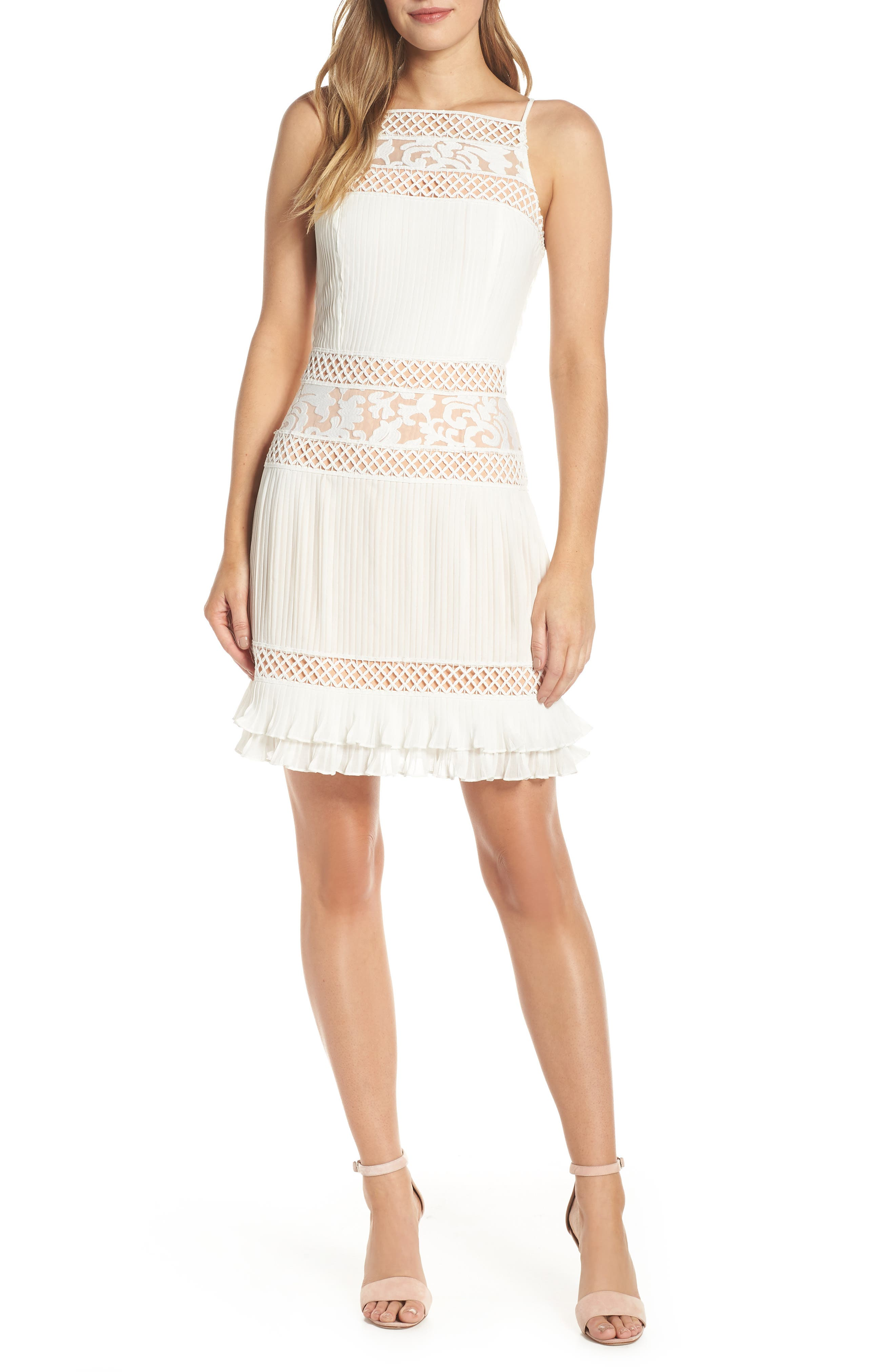 Adelyn Rae Nia Pleated A-Line Dress, White