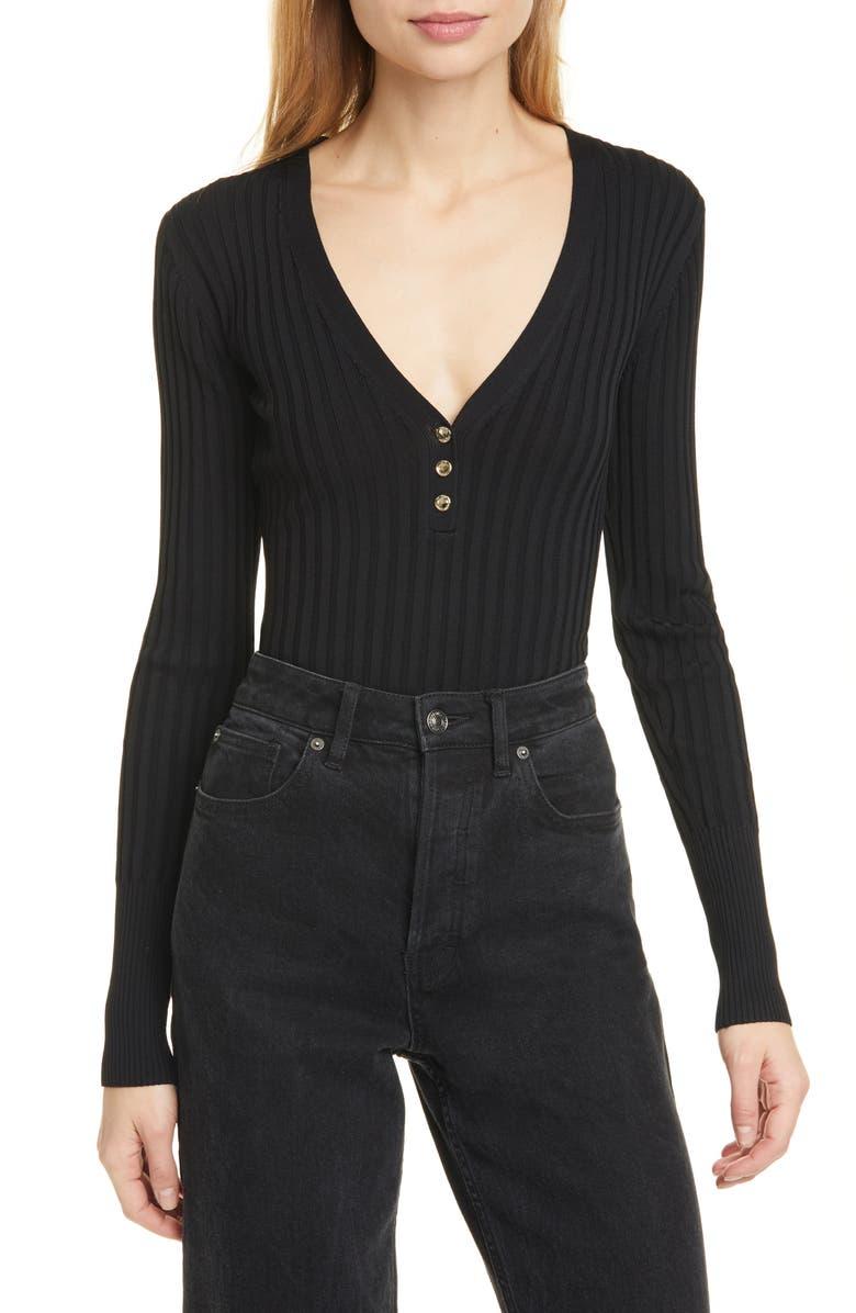 NICHOLAS Zia Ribbed Henley Sweater, Main, color, BLACK