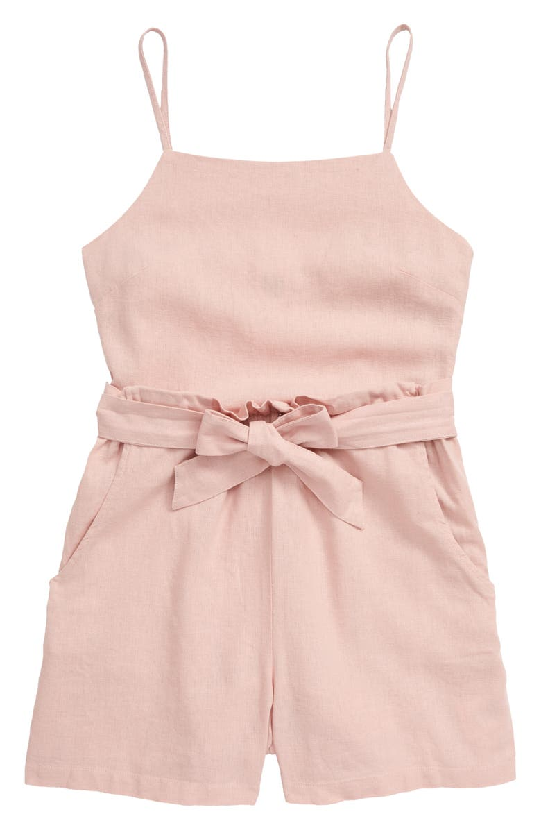 SEED HERITAGE Linen Blend Romper, Main, color, CLAY PINK