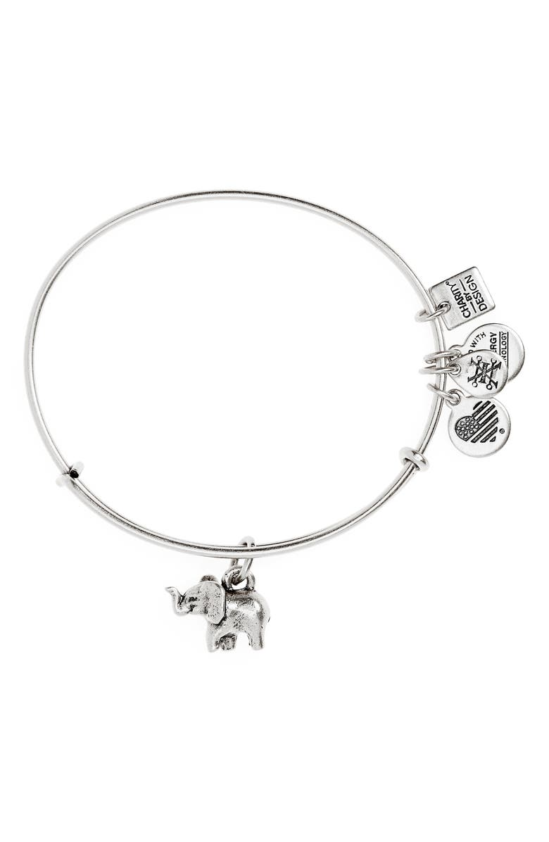 ALEX AND ANI Charity by Design Elephant II Adjustable Bangle, Main, color, 040