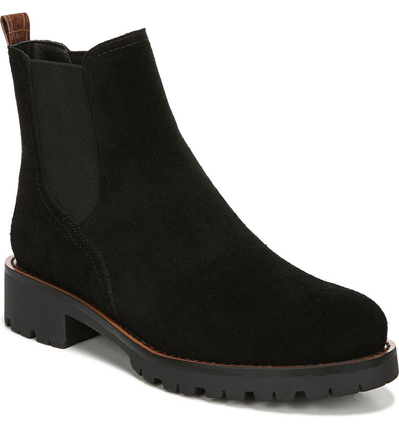 SAM EDELMAN Jaclyn Waterproof Chelsea Bootie, Main, color, BLACK/BLACK SUEDE