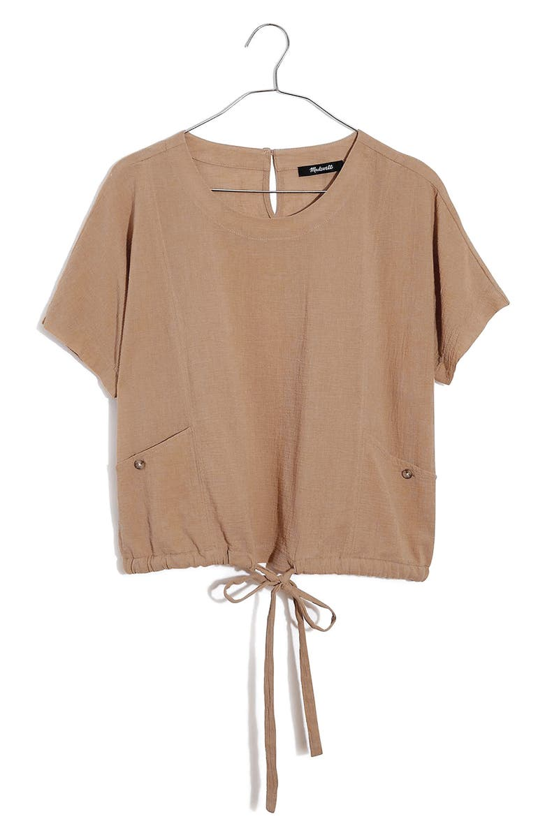 MADEWELL Drawstring Pocket Top, Main, color, EARTHEN SAND