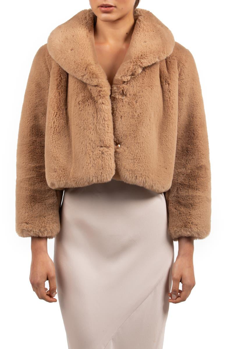 BÜBISH Milan Faux Fur Jacket, Main, color, BROWN