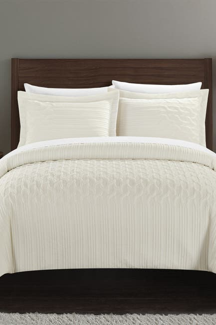 Image of Chic Home Bedding Jazmaine Embossed & Embroidered Geometric Interlaced Pattern King Comforter Set - Beige