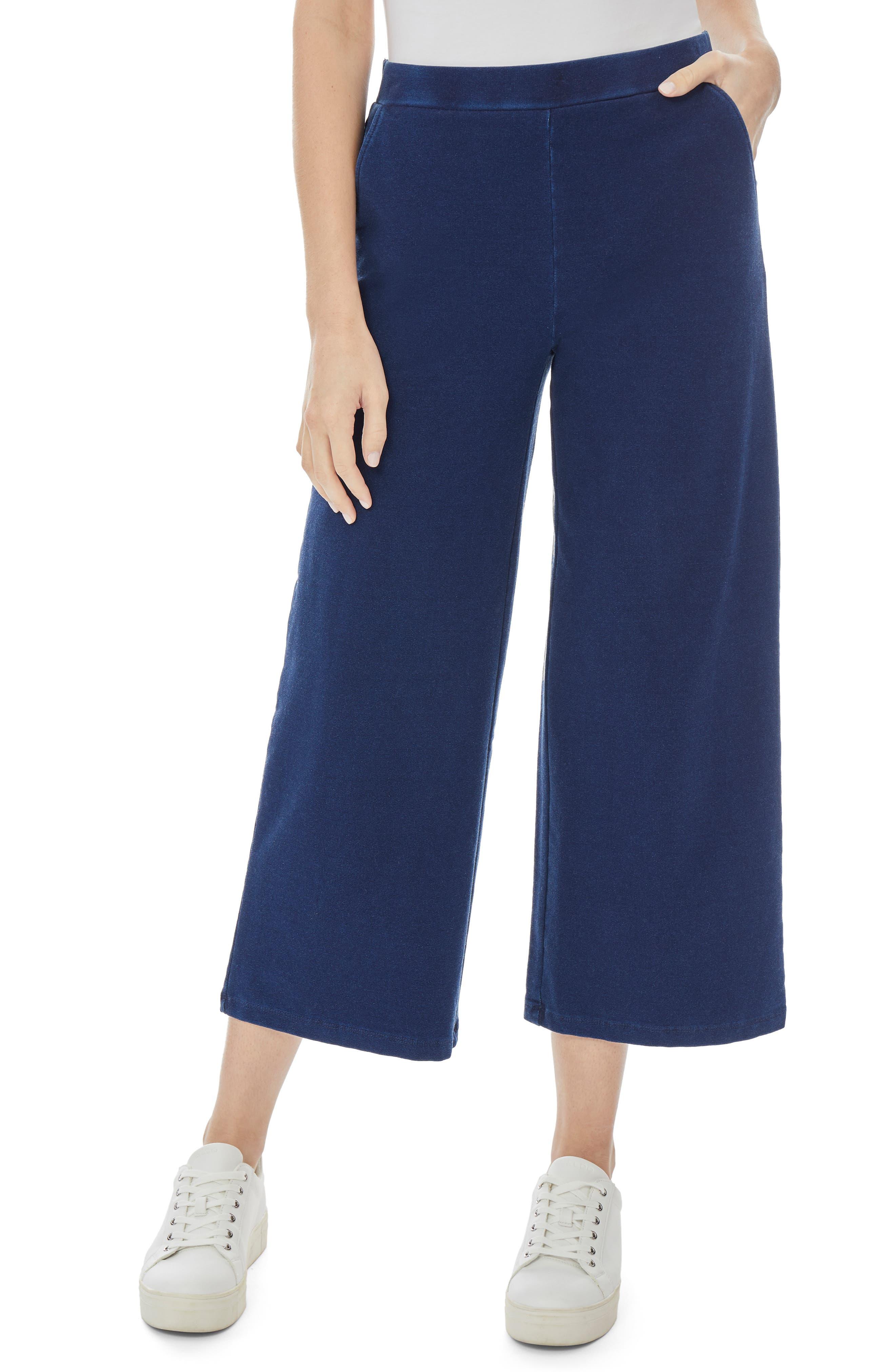 Wide Leg Crop Pull-On Cotton Blend Pants