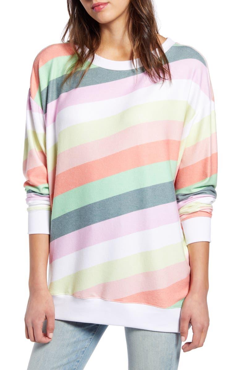 WILDFOX Roadtrip Rainbow Stripe Pullover, Main, color, MULTI COLOR