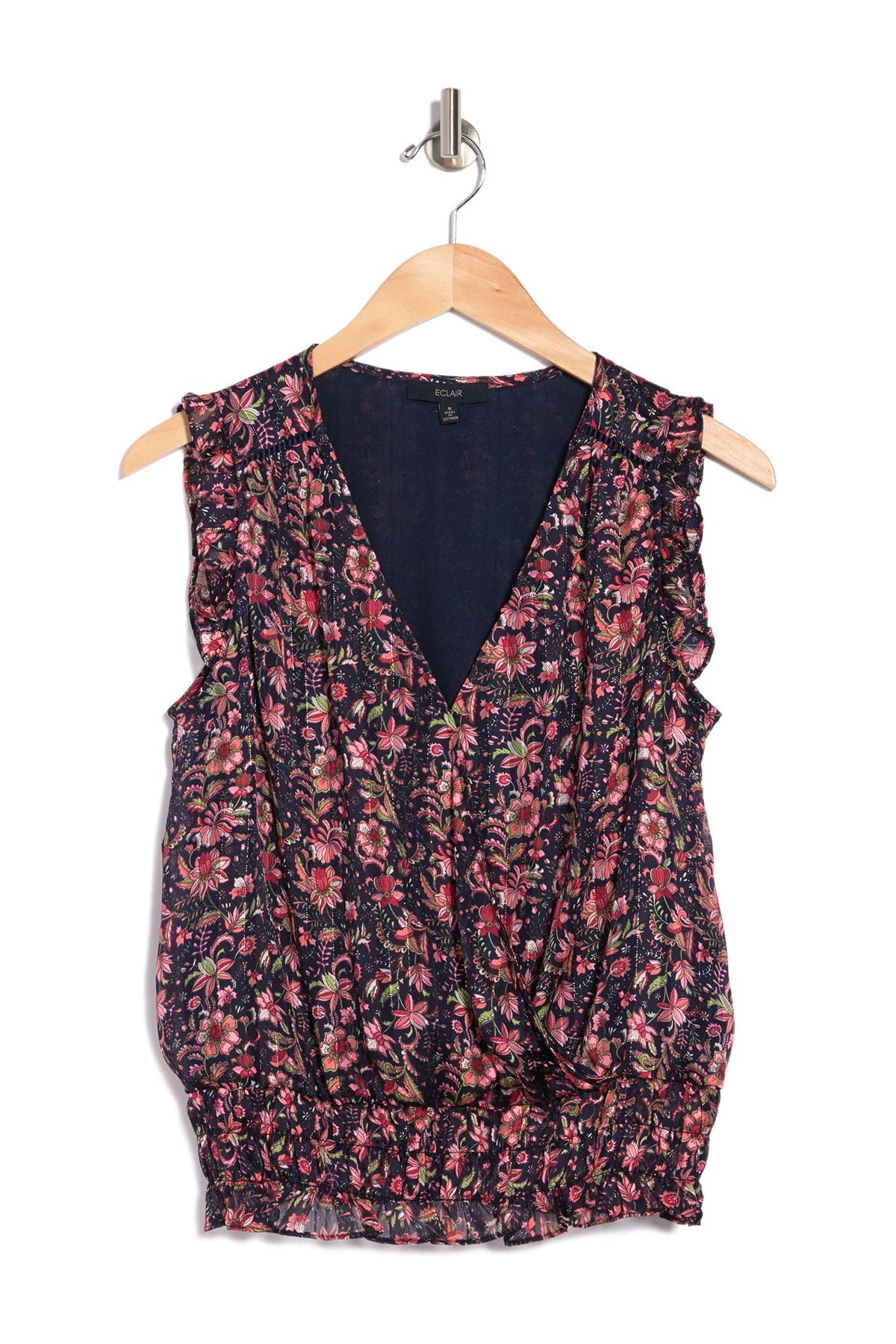 Image of ECLAIR Floral Surplice Sleeveless Top