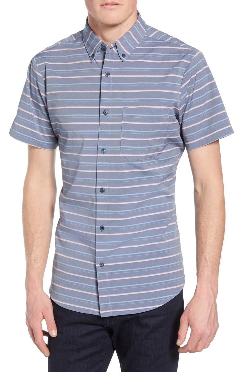 MIZZEN+MAIN Havel Trim Fit Stripe Performance Shirt, Main, color, BLUE
