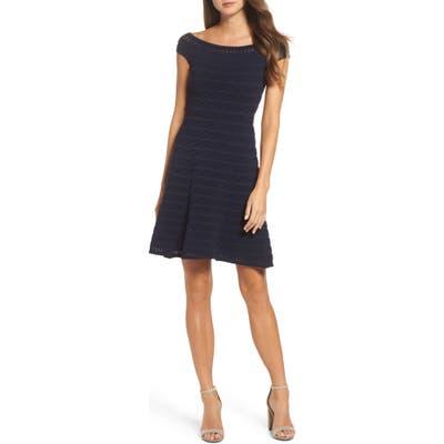 Eliza J Off The Shoulder Fit & Flare Dress, Blue