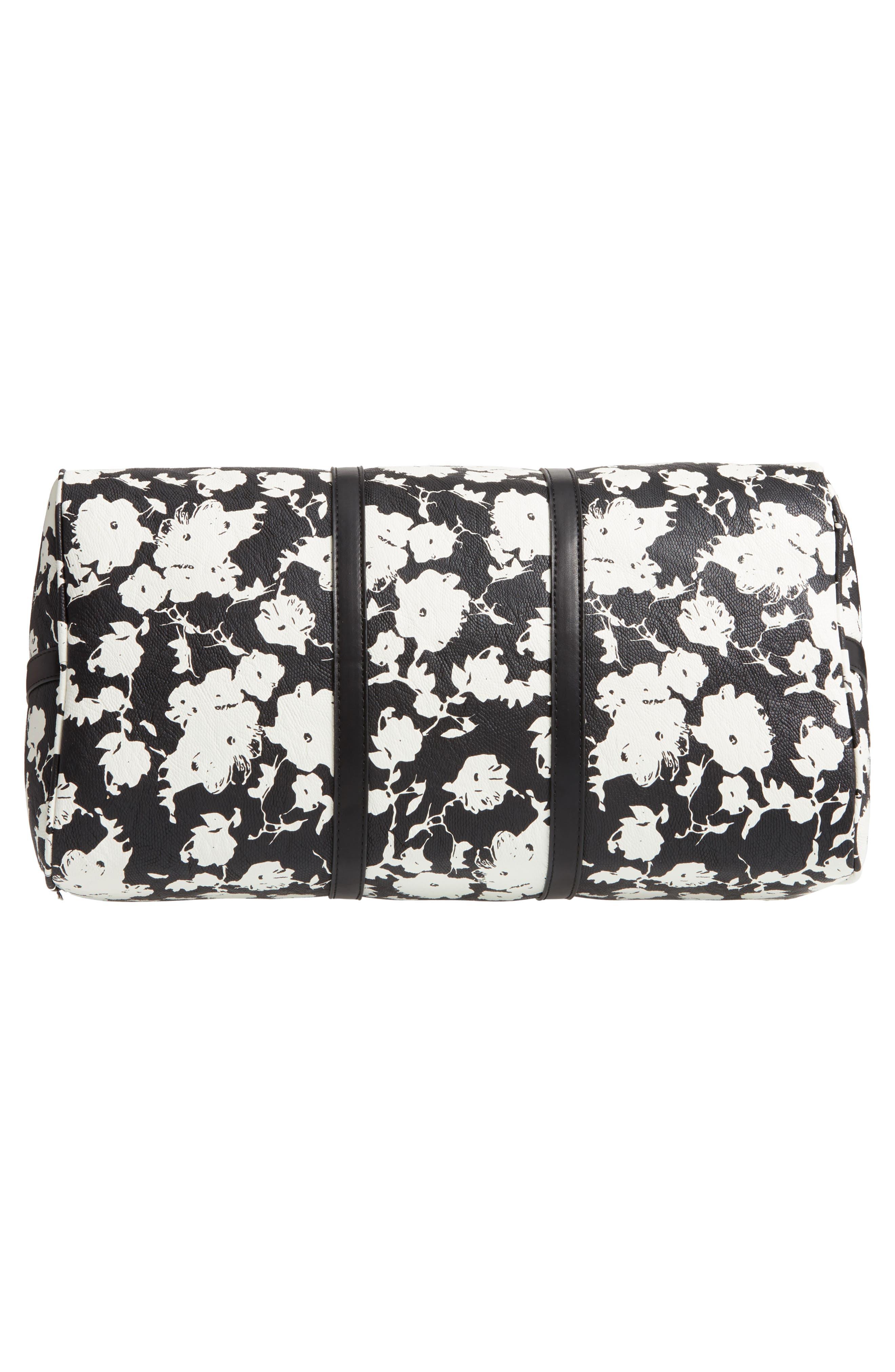 ,                             Cassidy Faux Leather Duffle Bag,                             Alternate thumbnail 6, color,                             BLACK FLORAL