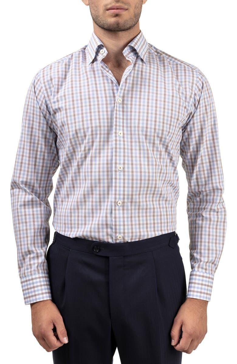 ETON Slim Fit Plaid Dress Shirt, Main, color, 200