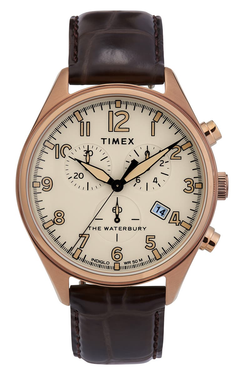Timex Waterbury Chronograph Leather Strap Watch 42mm