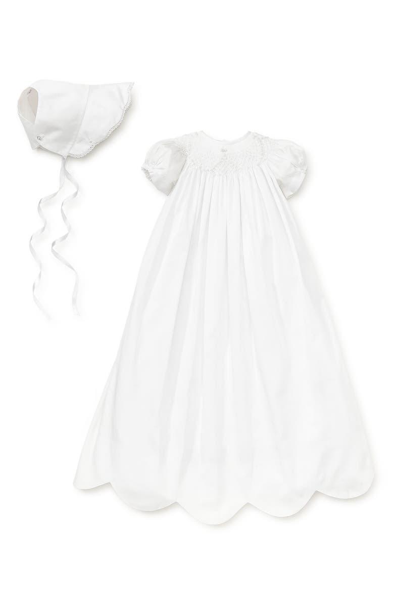 KISSY KISSY Caroline Christening Gown & Bonnet Set, Main, color, WHITE