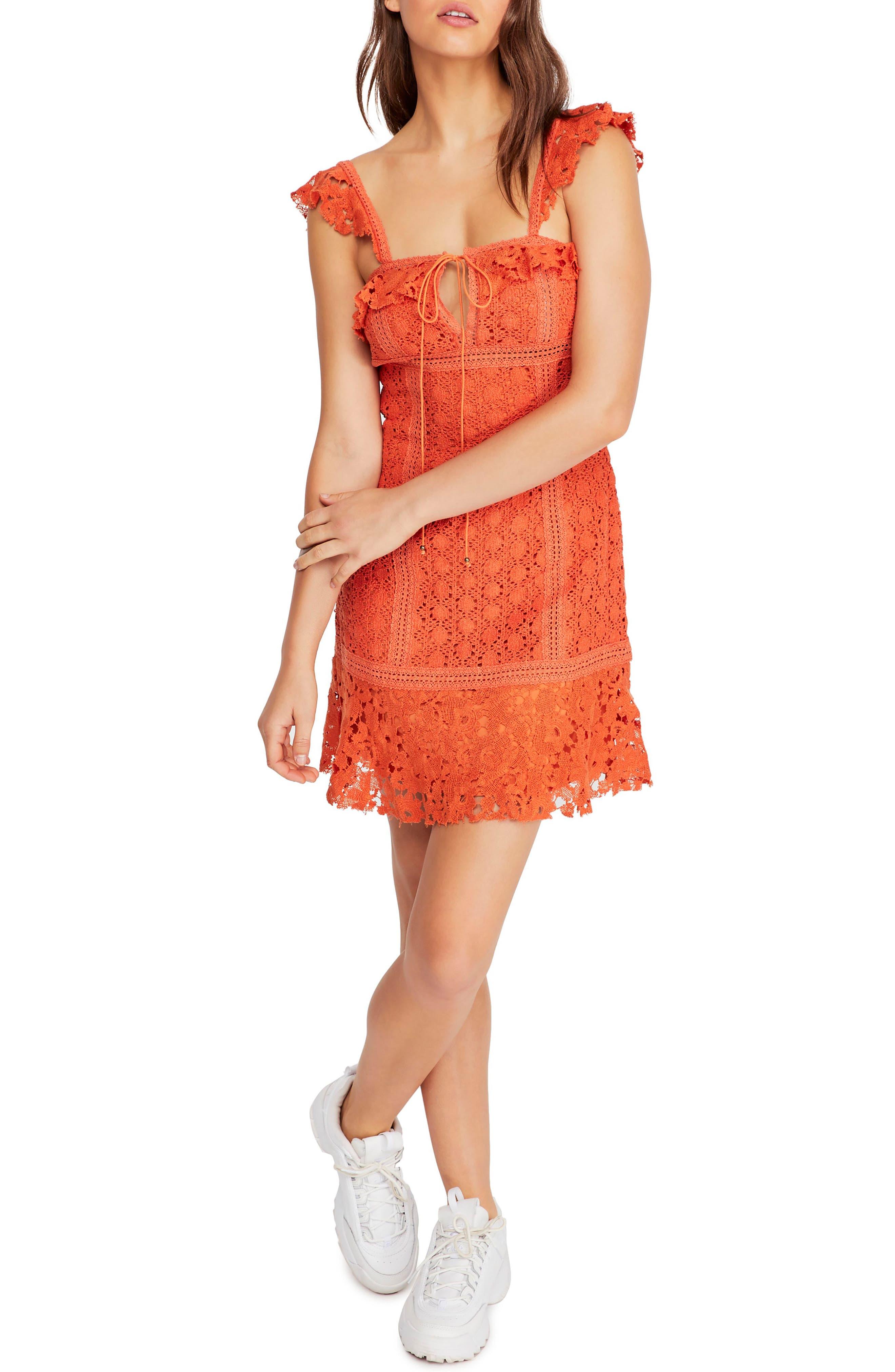 Free People Cross My Heart Minidress, Orange