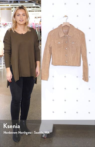 Crop Suede Trucker Jacket, sales video thumbnail