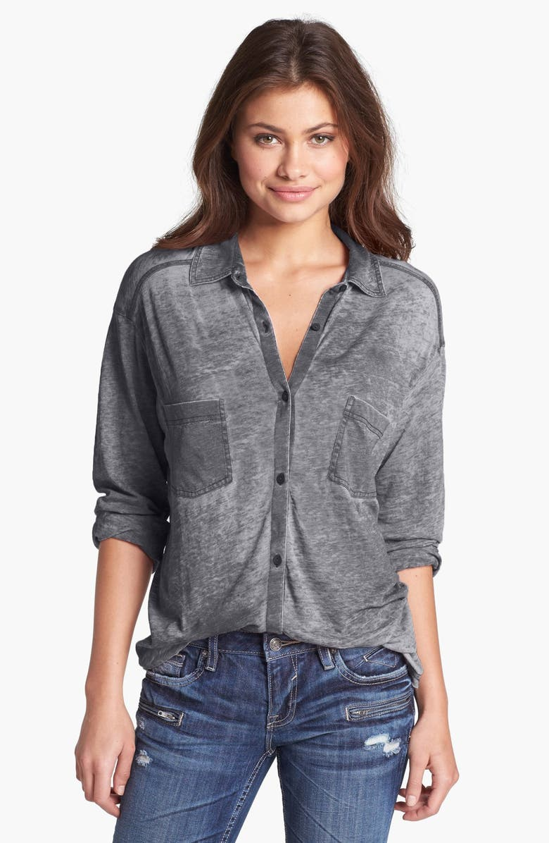 RUBBISH<SUP>®</SUP> Knit Button Front Shirt, Main, color, 001