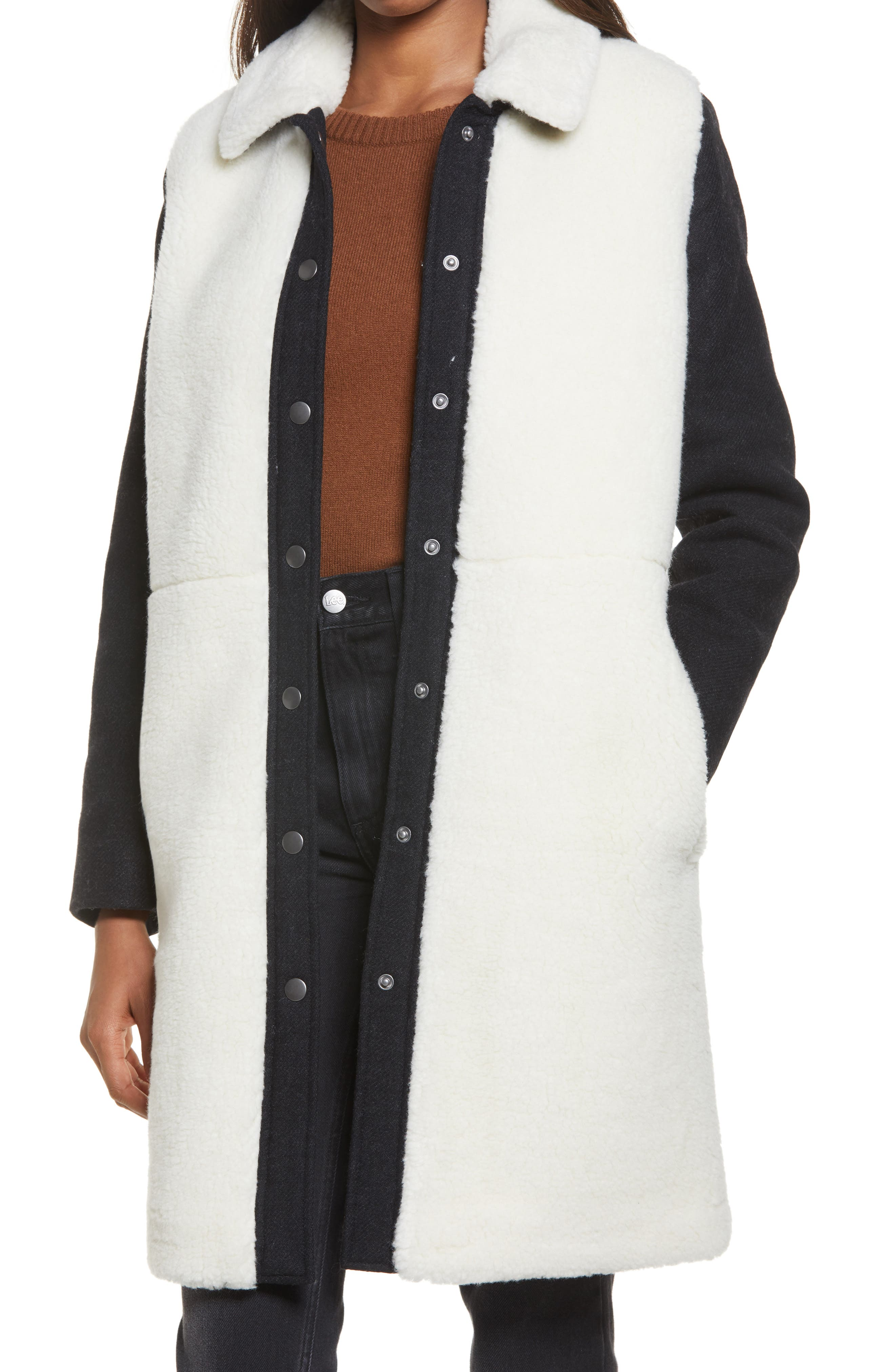 Madewell McClancy Faux Shearling Coat | Nordstrom