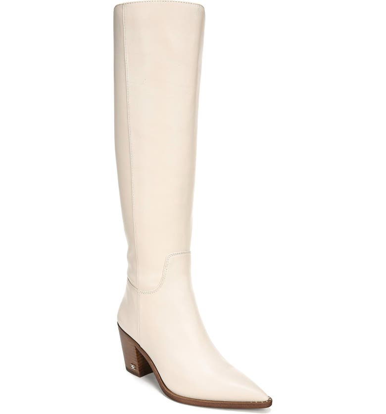 SAM EDELMAN Lindsey Pointed Toe Knee High Boot, Main, color, MODERN IVORY LEATHER
