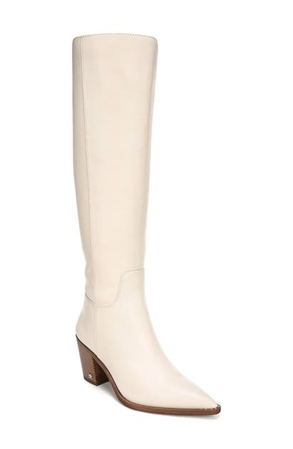 Sam Edelman Lindsey Pointed Toe Knee High Boot In Modern Ivory Leather