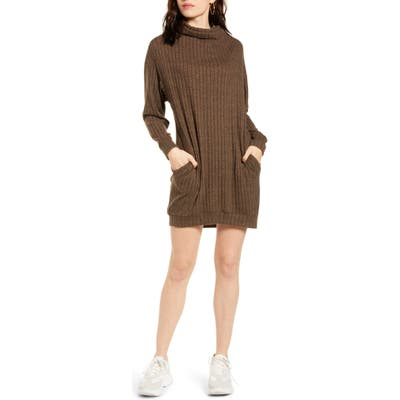 All In Favor Funnel Neck Rib Dress, Brown