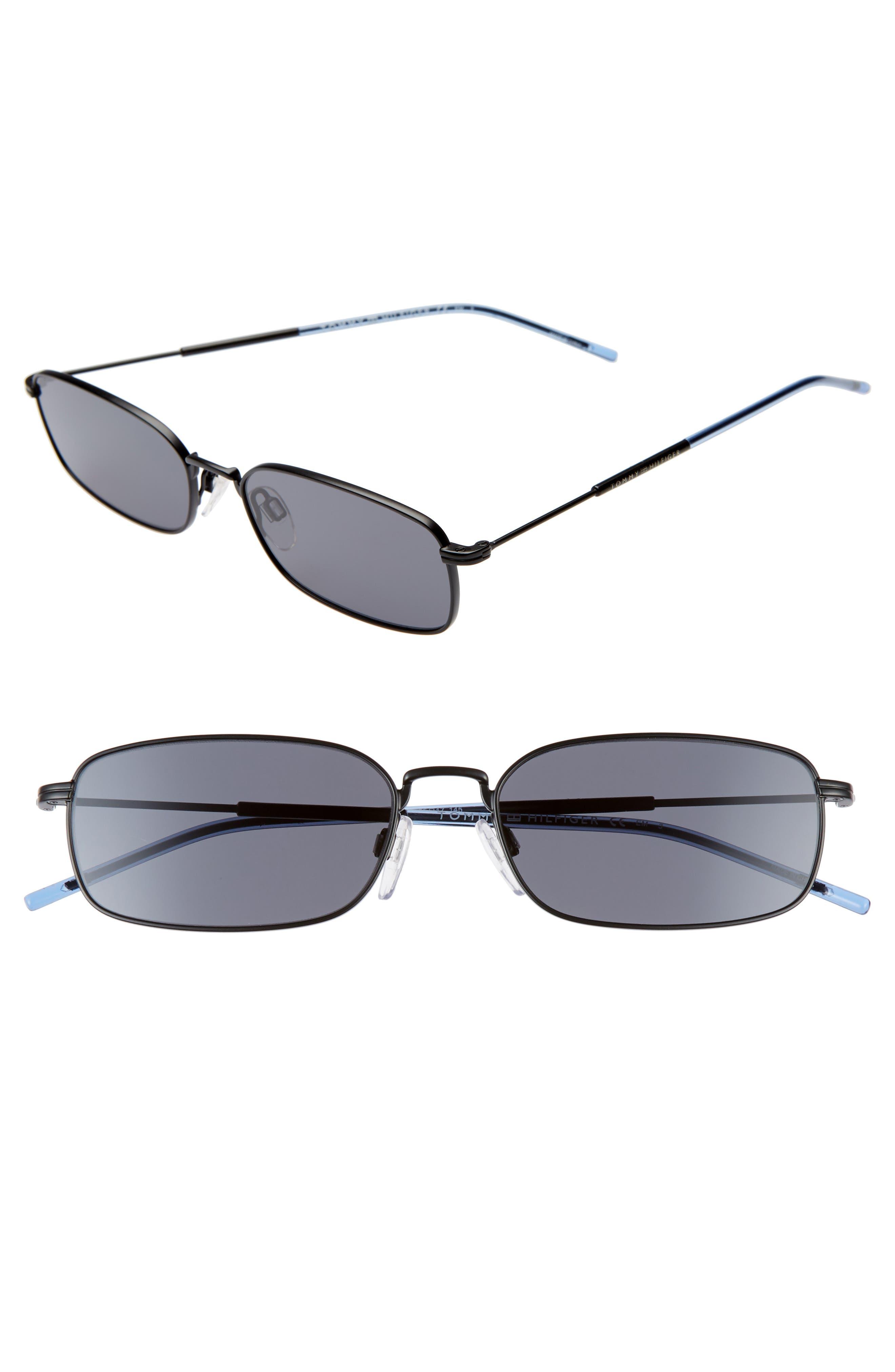 55mm Rectangle Sunglasses, Main, color, MATTE BLACK/ BLACK