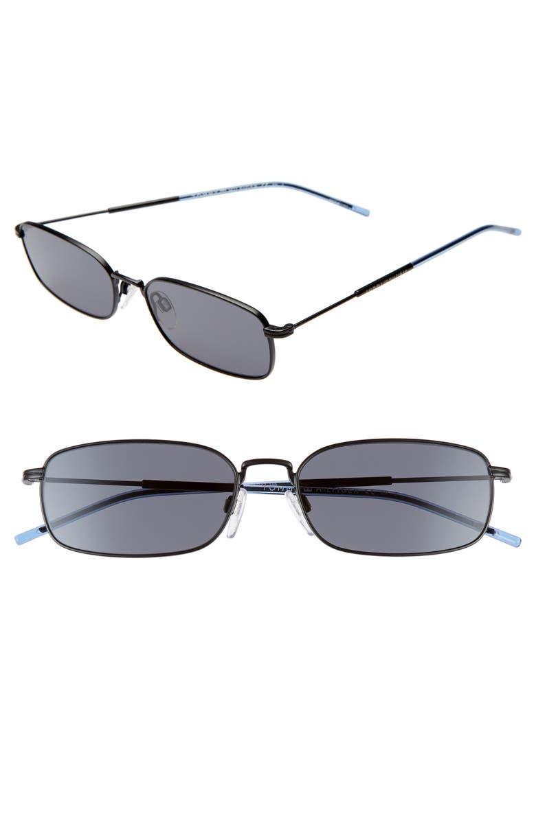 TOMMY HILFIGER 55mm Rectangle Sunglasses, Main, color, MATTE BLACK/ BLACK
