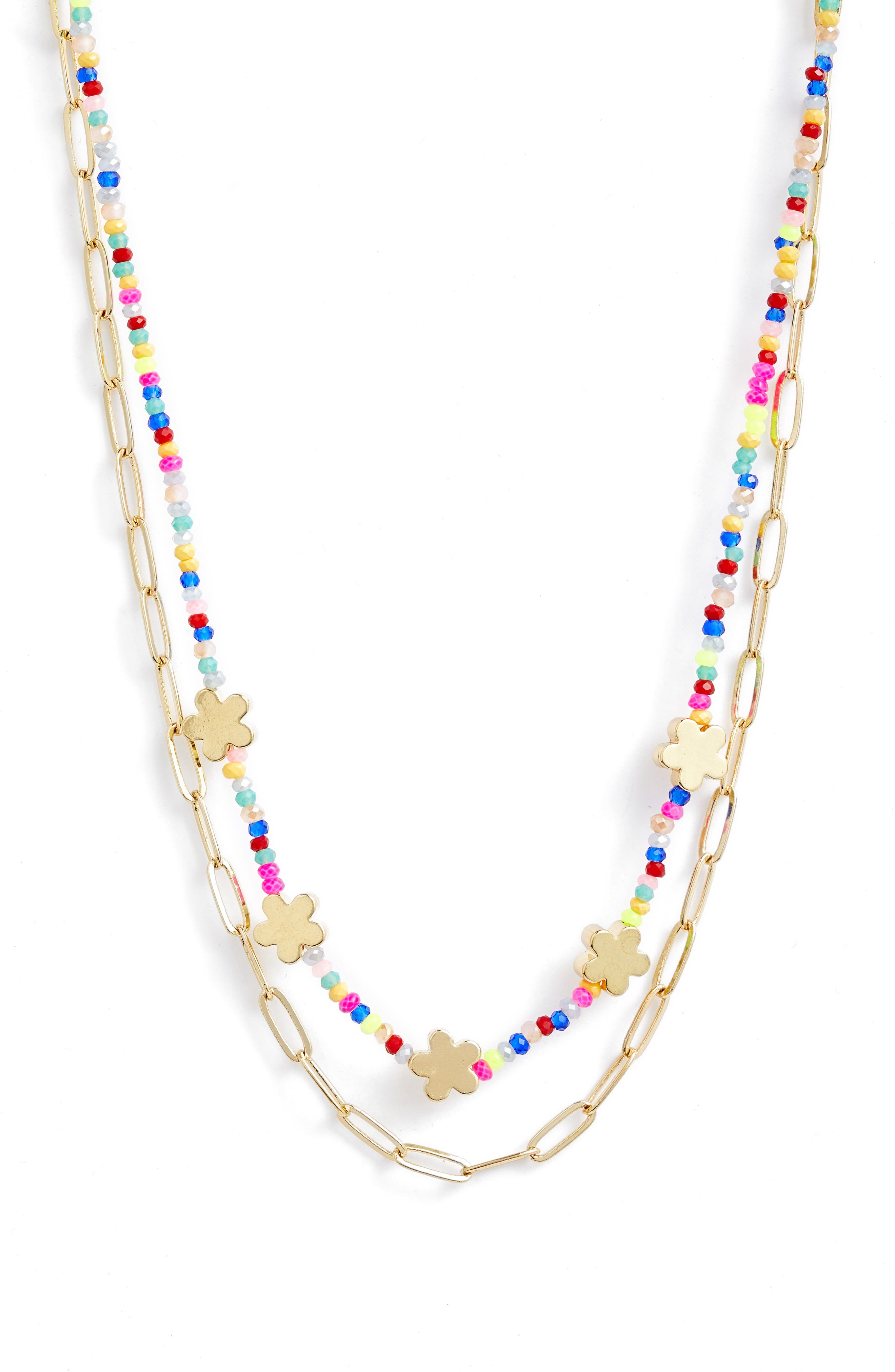 Bp. Necklaces BEADED LAYERED NECKLACE