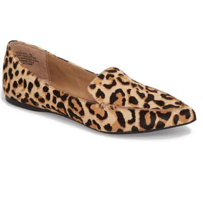 Steve Madden Feather-L Genuine Calf Hair Loafer Flat, Brown