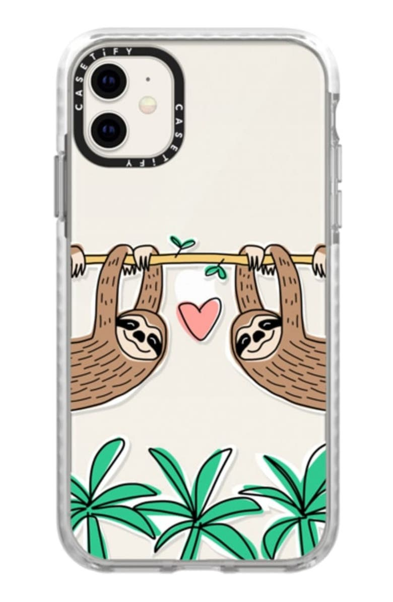 CASETIFY Sloth Tropical iPhone 11/11 Pro & 11 Pro Max Case, Main, color, CLEAR