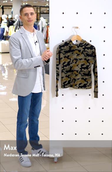 Camo Print Hoodie Pullover, sales video thumbnail