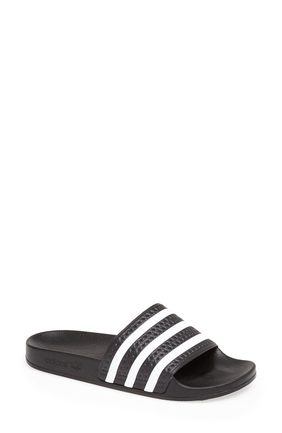 ,                             'Adilette' Slide Sandal,                             Main thumbnail 1, color,                             BLACK/ WHITE
