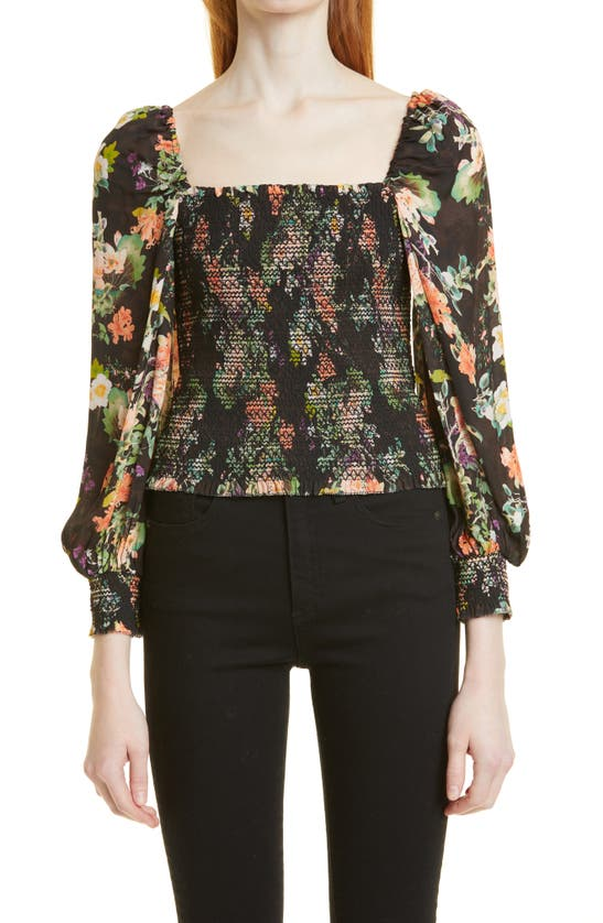Alice And Olivia Cooper Floral Smocked Bodice Blouse In Romance Black