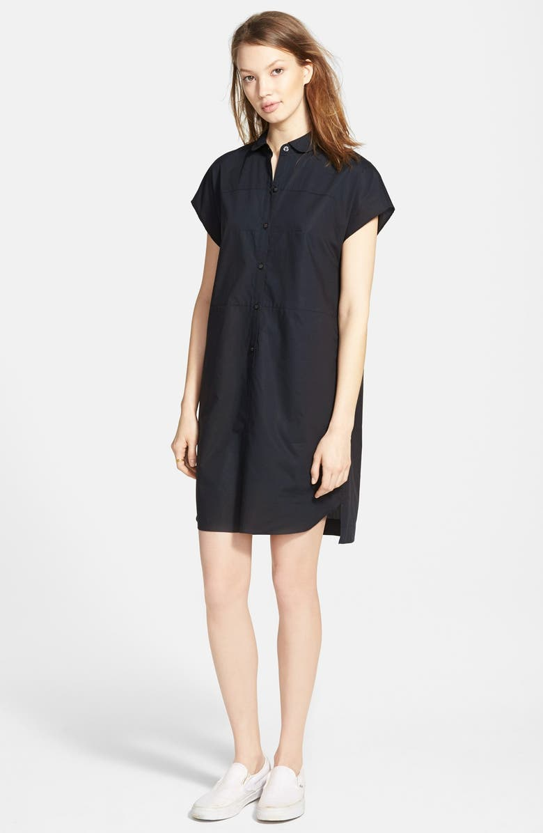 MADEWELL 'Vista' Cap Sleeve Shirtdress, Main, color, 001