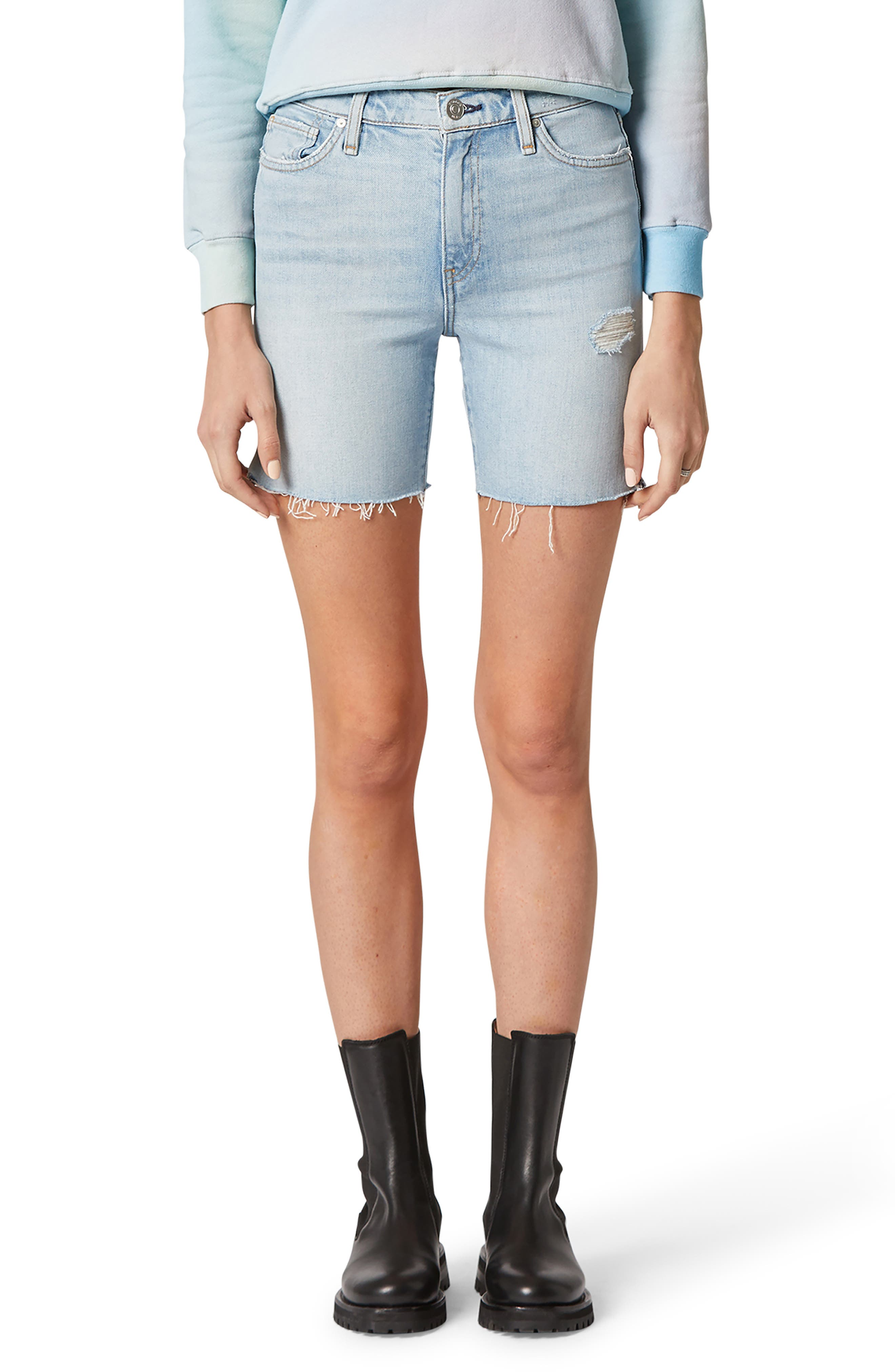 A sleek fit and notch at the sides belies the classic cutoff style of these well-faded nonstretch-denim shorts you\\\'ll reach for on the regular. Style Name: Hudson Jeans Hana High Waist Cutoff Denim Biker Shorts. Style Number: 6011113. Available in stores.