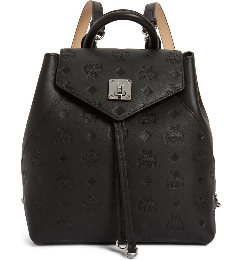 MCM Essential Monogram Leather Small Backpack, Main, color, BLACK