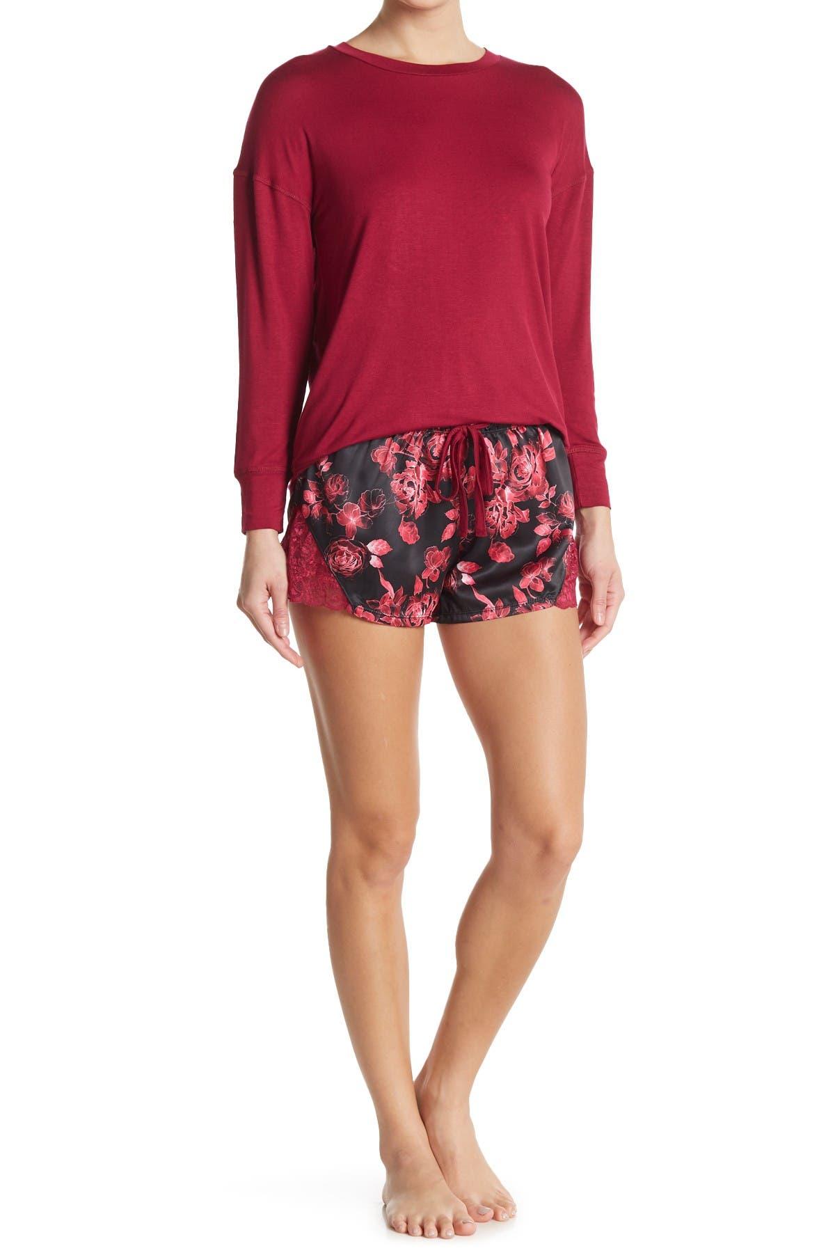 Catherine Malandrino Rose Garden Long Sleeve Top & Shorts 2-Piece Pajama Set