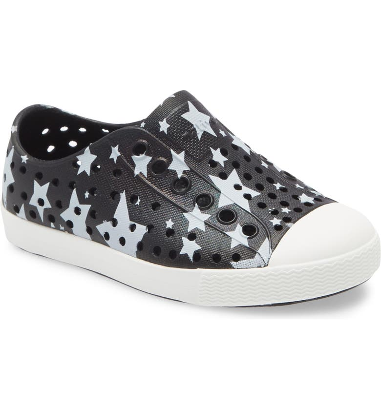 NATIVE SHOES Jefferson Water Friendly Perforated Slip-On, Main, color, JIFFY BLACK/ WHITE/ STARS