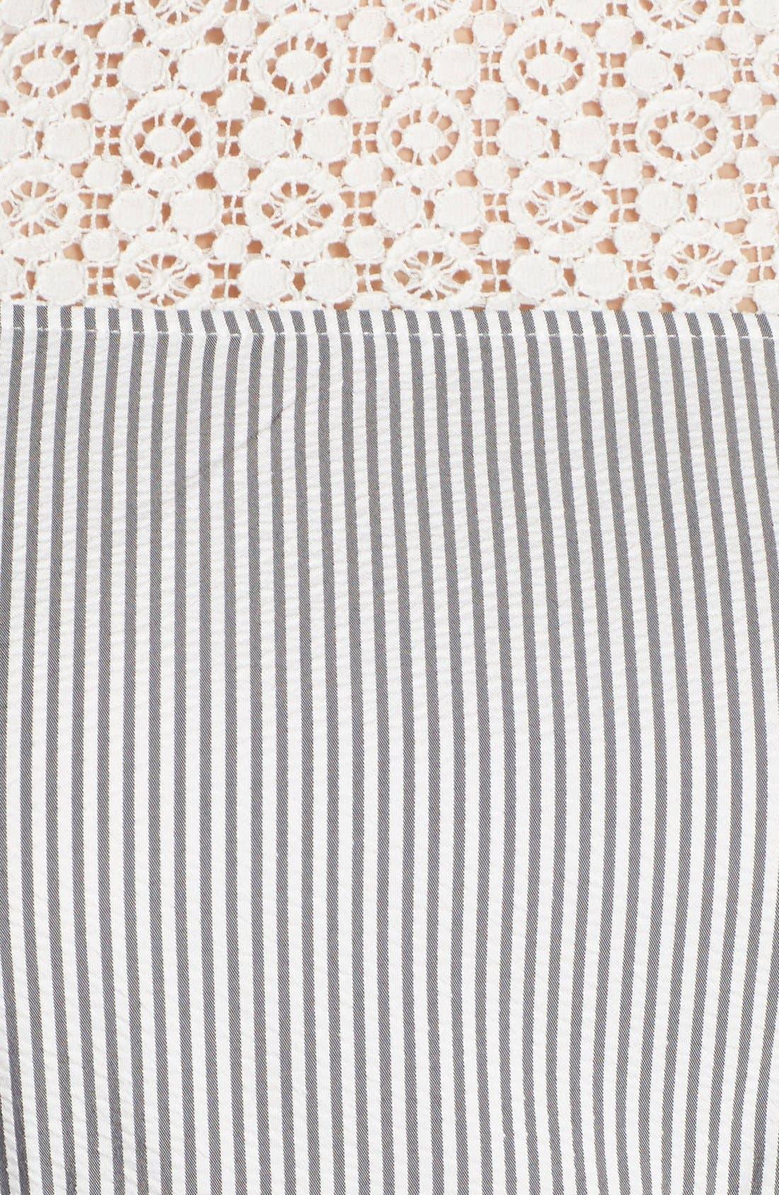 ,                             Lace & Seersucker Fit & Flare Dress,                             Alternate thumbnail 5, color,                             020