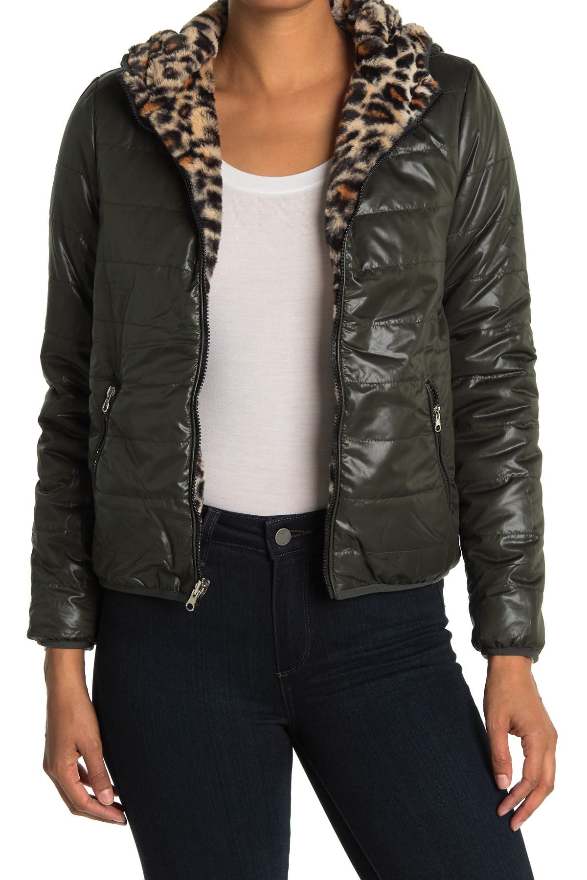 Image of Coffee Shop Reversible Leopard Faux Fur Zip Jacket