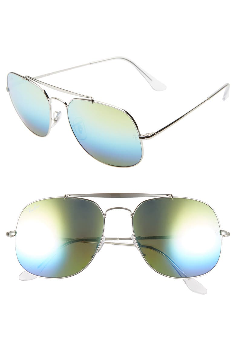 RAY-BAN The General 57mm Aviator Sunglasses, Main, color, METALLIC SILVER