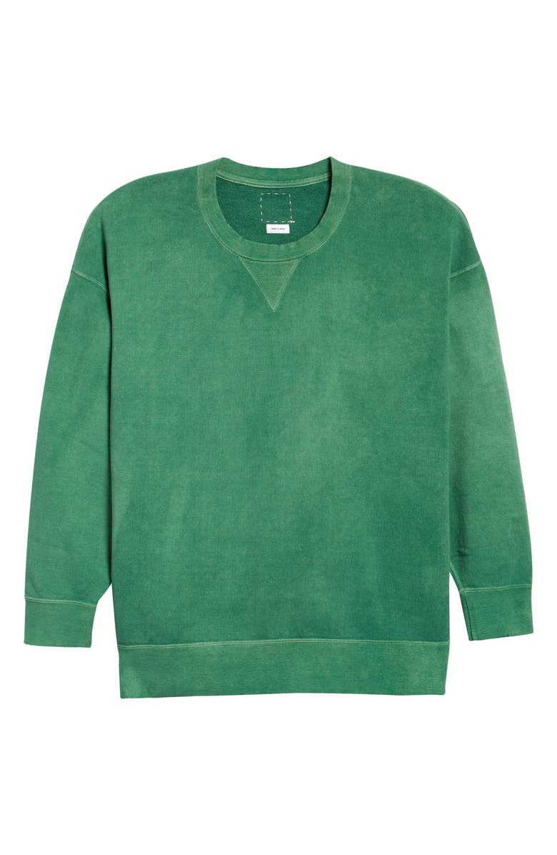 VISVIM Jumbo Uneven Dye Sweatshirt, Main, color, GREEN