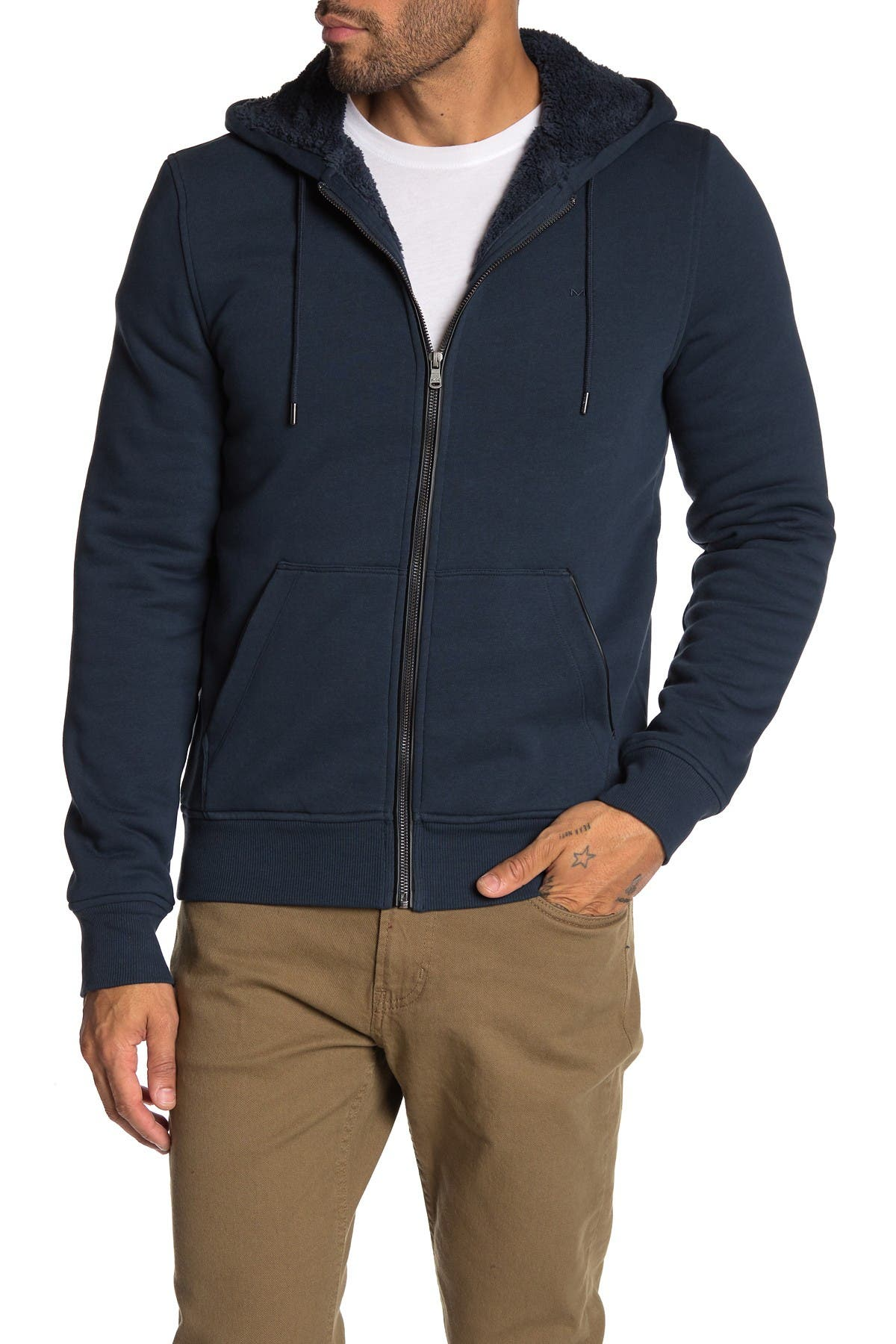 Image of Michael Kors Faux Shearling Lined Hoodie
