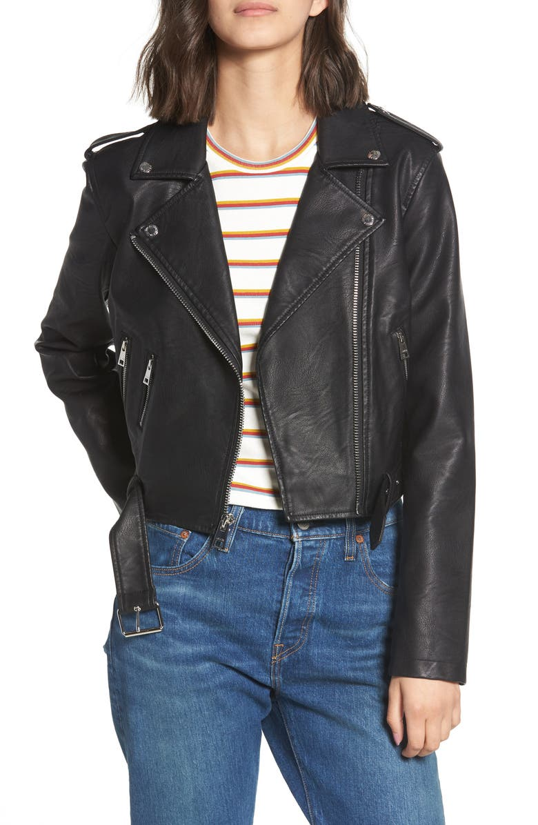 LEVI'S<SUP>®</SUP> Faux Leather Fashion Belted Moto Jacket, Main, color, 001