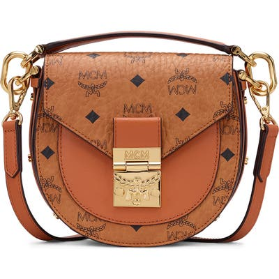 Mcm Mini Patricia Visetos Coated Canvas & Leather Shoulder Bag - Brown