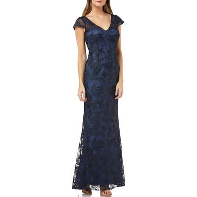 Js Collections Soutache Embroidered V-Neck Trumpet Gown, Blue